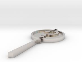 MysteryInc Pendant 3in in Rhodium Plated Brass