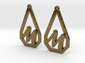 Teardrop Monogram Earrings Small (customizable) in Polished Bronze