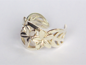 Frangipani Ring in Fine Detail Polished Silver