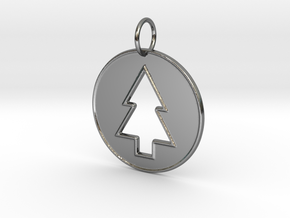 Gravity Falls Pine Tree Pendant in Fine Detail Polished Silver