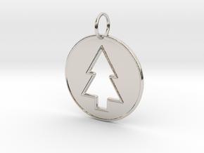 Gravity Falls Pine Tree Pendant in Rhodium Plated Brass