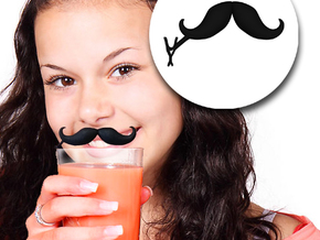 Mustache Drink ID Clip - Droopy Handlebar Style (P in Black Natural Versatile Plastic
