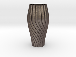 Parametric Vase  in Polished Bronzed Silver Steel
