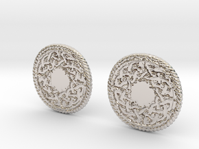 Round Knot Cufflinks in Rhodium Plated Brass