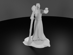 Dragonborn Wizard in Robes with Staff in White Processed Versatile Plastic
