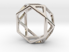 Structural Ring size 5,5 in Rhodium Plated Brass