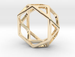 Structural Ring size 6 in 14k Gold Plated Brass