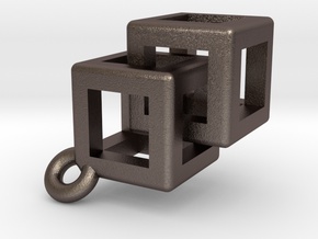Impossible rounded cubes. in Polished Bronzed Silver Steel