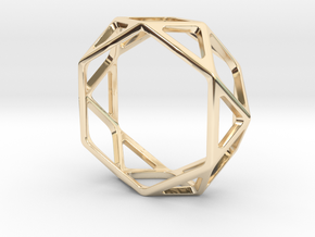 Structural Ring size 13 in 14k Gold Plated Brass