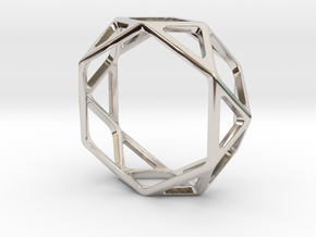 Structural Ring size 13 in Rhodium Plated Brass