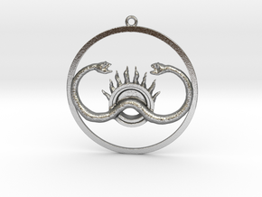 Two serpents and the sun in Natural Silver