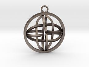 Celtic Cross Pendant in Polished Bronzed Silver Steel