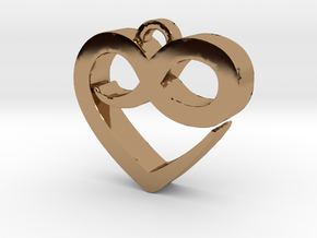 Infini Heart Necklace in Polished Brass
