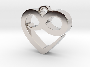 Infini Heart Necklace in Rhodium Plated Brass