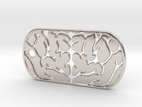 Premium Brain Matter Dog Tag in Rhodium Plated Brass