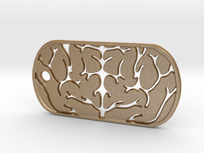Premium Brain Matter Dog Tag in Matte Gold Steel