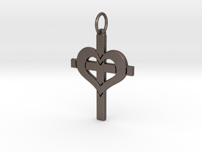 Christ in your Heart Crucifix Pendant in Stainless Steel