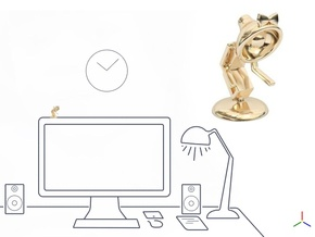 """Lele says, """"Pls shake hand with me"""" - Desk Toys in 14K Yellow Gold"""