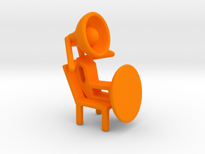 Lala - Relaxing in chair - DeskToys in Orange Strong & Flexible Polished