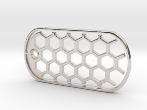 Honeycomb Dog Tag in Rhodium Plated Brass