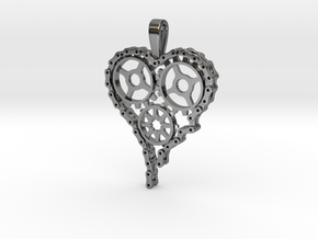 Steam Punk Gear Heart in Premium Silver