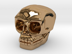 Skull bead (Top threading) in Polished Brass