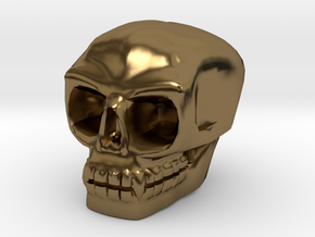 Skull bead (Top threading) in Polished Bronze