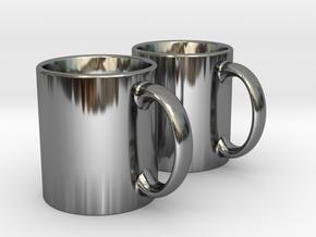 Mug Earrings in Fine Detail Polished Silver