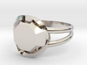 Size 9 Diamond Ring in Rhodium Plated Brass