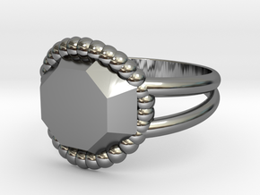 Size 7 Diamond Ring A in Fine Detail Polished Silver