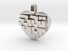 Mosaic Heart Pendant Small in Rhodium Plated Brass
