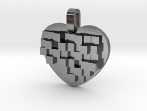 Mosaic Heart Pendant Small in Polished Silver
