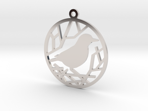Christmas tree ornament - Bird in Rhodium Plated Brass