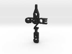 Amazing Grace Cross Pendant in Black Natural Versatile Plastic