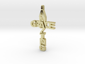 Amazing Grace Cross Pendant in 18k Gold Plated Brass