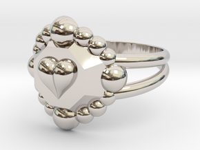 Size 8 Diamond Heart Ring E in Rhodium Plated Brass