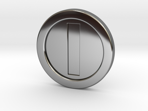 Mario Coin in Fine Detail Polished Silver
