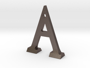 Letter A Bottle Opener in Polished Bronzed Silver Steel
