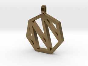 Heptagon Monogram Pendant (customizable) in Polished Bronze