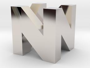 N64 Logo in Rhodium Plated Brass