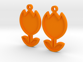 Tulip Earrings Thin in Orange Processed Versatile Plastic