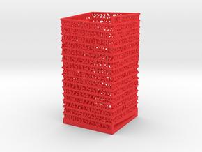 PI Pen Holder Square Shaped in Red Processed Versatile Plastic