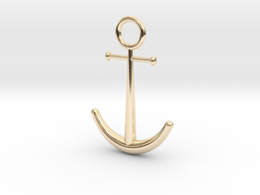 Anchor Pendant in 14k Gold Plated Brass