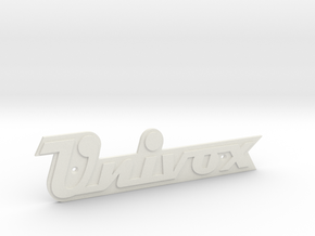 UNIVOX Cabinet/Case Badge in White Natural Versatile Plastic