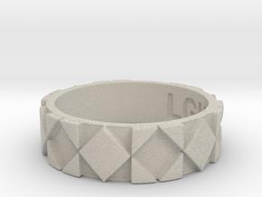 Futuristic Rhombus Ring Size 8 in Natural Sandstone