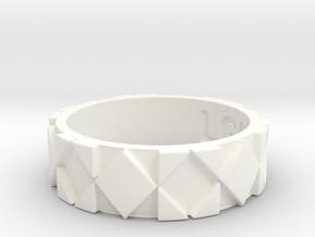 Futuristic Rhombus Ring Size 7 in White Processed Versatile Plastic