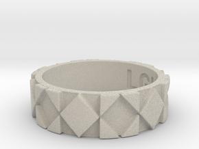 Futuristic Rhombus Ring Size 7 in Natural Sandstone