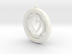 Pendant rotation HEART  in White Strong & Flexible Polished