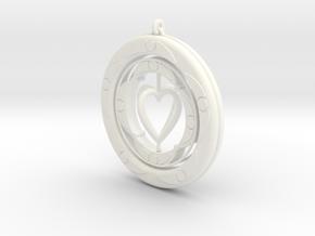 Pendant rotation HEART  in White Processed Versatile Plastic