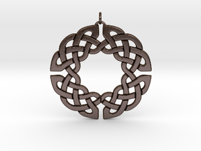 Circular Celtic Knot Pendant in Polished Bronze Steel